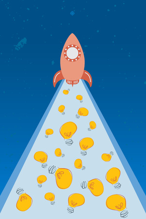 Business idea with startup concept using rocket fly up to the star and having idea light bulb along.