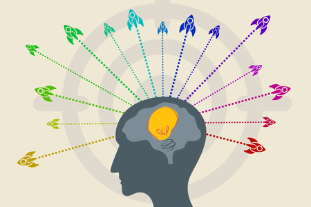 initiator: Business idea with startup concept using fly out of a man head with idea light bulb inside the brain.