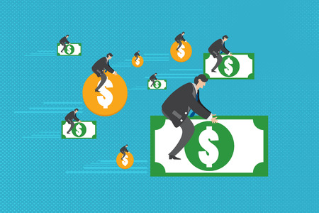 bank notes: Successful businessman sitting on bank notes and dollar coins. Illustration