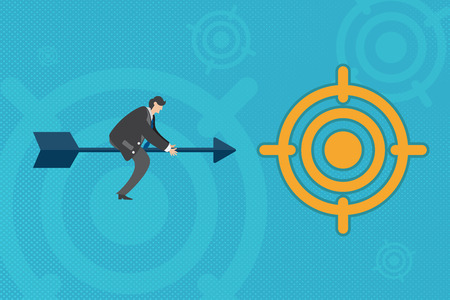 Successful businessman sitting on arrow moving forward to target. Illustration