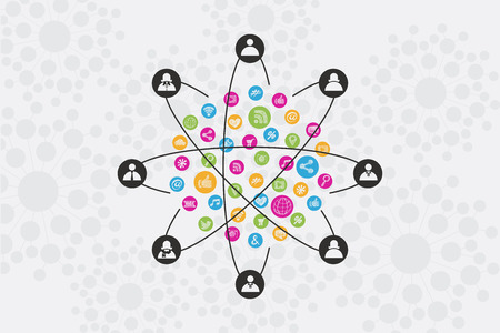 Social Network concept with icons surrounded by people and connection. Illustration