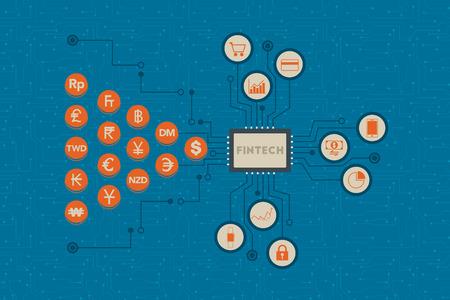 Fintech. Financiële technologie en investeringen van het bedrijfsleven concept. Vector Illustratie