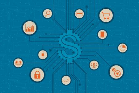 Fintech. la tecnología y concepto financieros de la inversión empresarial.