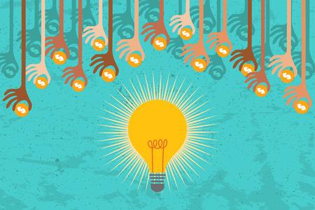 クラウドファンディングの計画。上から多くの手は、良いアイデアをサポートするための資金を与えます。