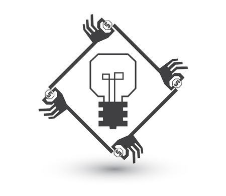 initiator: Crowdfunding cocept. Simple graphic of many hands in poly shape around light bulb to give their fund to support good idea.