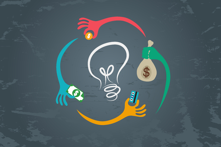 Crowdfunding cocept. Many hands around light bulb to give their fund to support good idea.