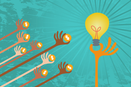 initiator: Crowdfunding cocept. Many hands give their fund to support good idea. Illustration
