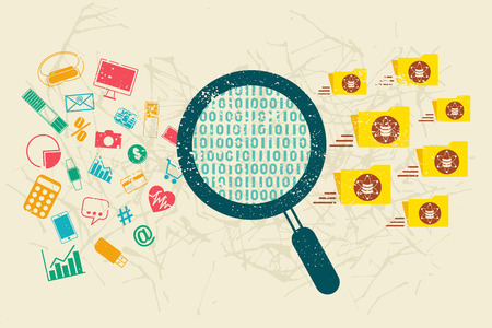 categorized: Big data and data analysis. Information data and gadgets icon flowing through the searching operation and categorized into folder group of data.