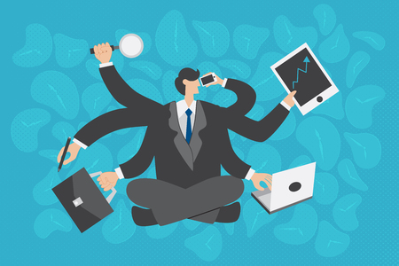 multiply: Business concept. Multitasking businessman working very busy with many hands holding multiply devices and clocks for background. Illustration