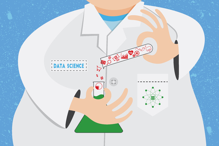 manipulation: Data science concept. Scientist is working and analysing on data information for manipulation and experimental in laboratory.