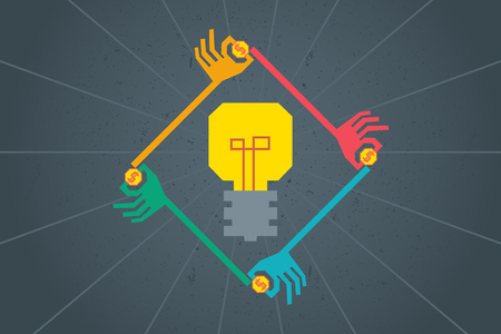 initiator: Crowdfunding cocept. Colorful graphic of many hands in poly shape around light bulb to give their fund to support good idea.