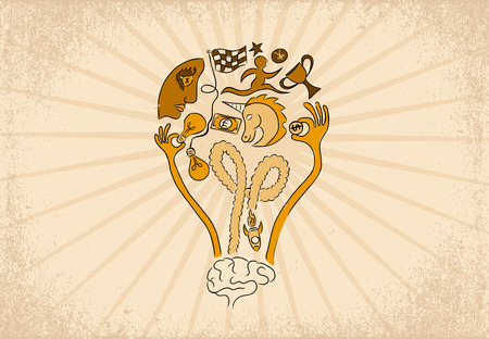 initiator: Business Startup idea and Crowdfunding concept. Light bulb idea shape created from Brain, Rocket, Funding hand, Unicorn, Money, Star, Prize cup, Business face and Running man. Illustration