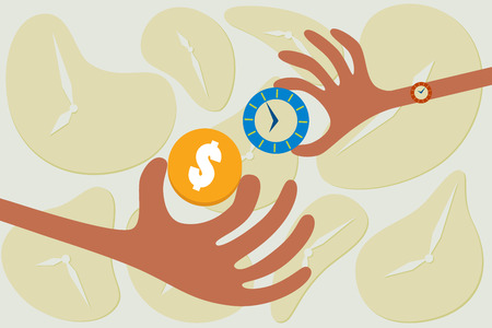 Business concept. Time for money. A hand giving their time to exchange for money.