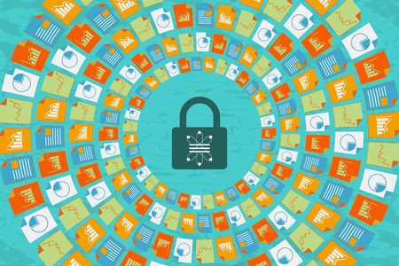 Data Science and Communication with security concept. Information data flow around the security padlock with database icon in the center.