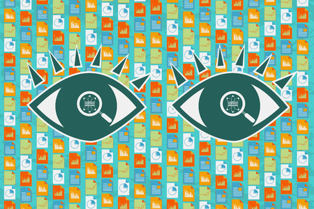 Big Data, Data Science and Communication concept. Eyes with magnifying glass searching and analyzing variety of information data which flow behind as a background. Illustration