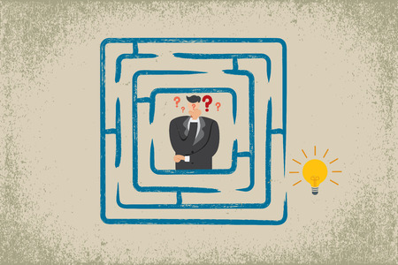 solve problem: Business concept. Businessman thinking to solve problem, finding solution in the maze.