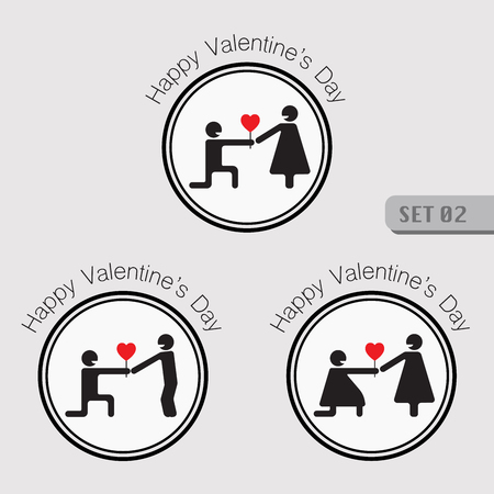 seduce: Valentines smiling stick figure pictogram symbol of man sitting giving heart shape to woman and also symbol of gay and lesbian giving heart.
