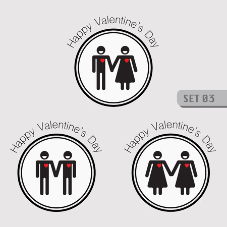 Valentines smiling stick figure pictogram symbol of man and woman holding hand with red heart and also symbol of gay and lesbian in the same action.
