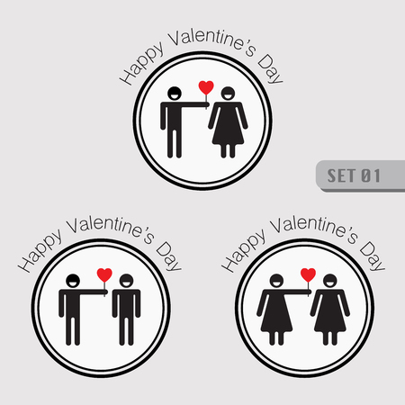 Valentines smiling stick figure pictogram symbol of man standing and giving heart shape to woman and also symbol of gay and lesbian giving heart.