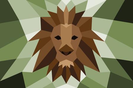 Lion head with poly diagonal design. Illustration