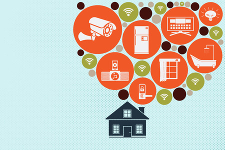 home concept using Internet of Things Technology. A house with flow of households in circular shape. Illustration