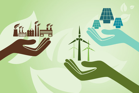 green power: Save environment and green power concept. Hands holding new solution to create power using solar cell and windmill instead of old power plant.