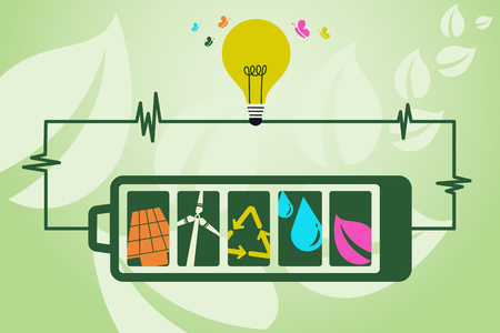 world agricultural: Save environment and green energy concept. Using battery power to show an alternative way of producing electricity using green energy technology to light up the bulb.