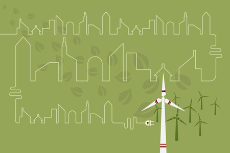 green power: Save environment and green power concept. An electric cord line in shape of city connected to windmill for green power.