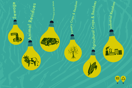 Save environment and green energy concept. Alternative way of producing electricity using biomass technology to light up the bulb.