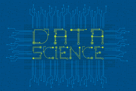 Big data and data science concept with digital and electronics font style and digital data flowing as background. Illustration