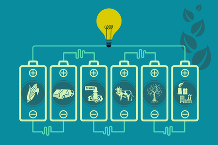 Save environment and green energy concept. Using battery power to show an alternative way of producing electricity using biomass technology to light up the bulb.