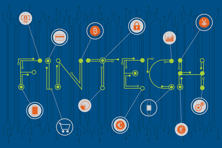 Fintech. Financial technology and business investment concept with digital and electronics font style.