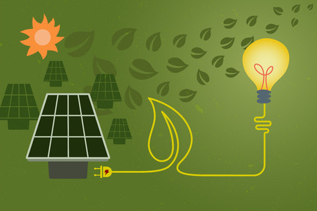 Save Environment And Green Power Concept. An Electric Cord Line In Shape Of  Leaf From