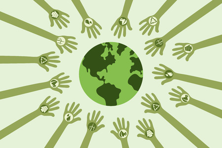 green power: Save environment and green power concept. Many hands with green energy symbol around the world.