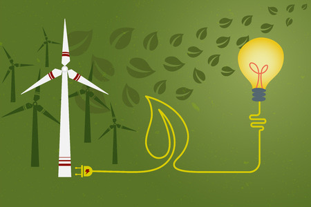 green power: Save environment and green power concept. An electric cord line in shape of leaf from light bulb connected to windmill for green power.