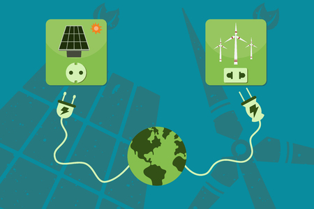 green power: Save environment and green power concept. Electricity power cord from the world connecting to green power source which are solar cell and windmill. Illustration