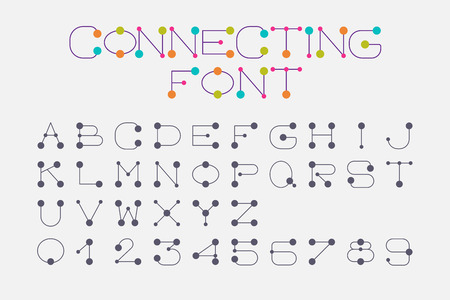 design: Font set design using dot and connecting line  represent connection, link, together and collaboration.