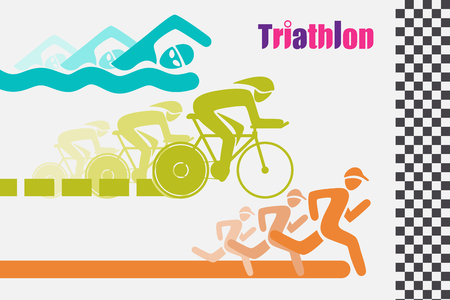 Triathlon graphic symbol. Triathletes are swimming running and cycling icon in colorful racing to the finish line. Illustration