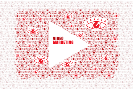 Video and online marketing concept. Video icon consist of many viewer eyes to form a shape of video player icon and some space in the middle for text.