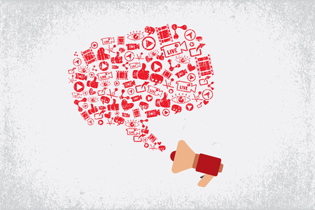Megaphone with speech bubble which consist of video and online marketing icons.