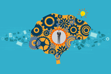 General Business and Management concept. A Businessman standing in mechanical gears inside a brain with electronic gadgets and high technology devices floating as background.