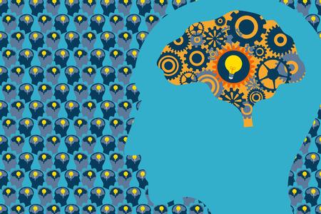 一般的なビジネスおよび管理の概念。脳と多くの人間の頭の中の背景に脳の中の電球の歯車機械と大きな頭部