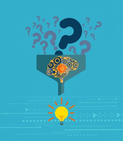 Bedrijfs- en probleemoplossend concept. Vraagtekensymbool die in het filter gaan met een mechanische hersenen en een gloeilamp aan het eind. Vector Illustratie
