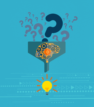qualify: Business and Problem solving concept. Question mark symbol going into the filter with a mechanical brain and light bulb at the end. Illustration