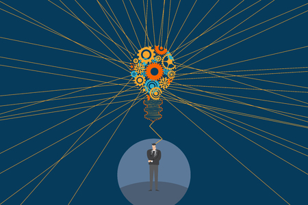 Business and creative idea concept. A businessman standing and thinking with Light bulb and mechanical gears inside and straight line to show spread light from the bulb. Illustration