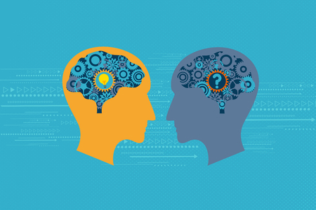 General Business and Management concept. Two heads talking to each others. One has question mark inside the brain while another has light bulb inside the brain. Illustration