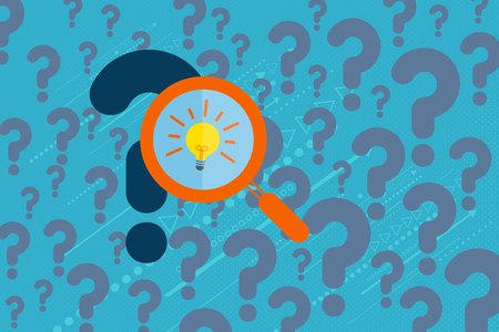 though: Business and Problem solving concept. Magnify glass searching through question marks to find the best solution with light bulb inside.