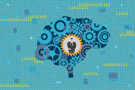 General Business and Management concept. A Businessman in mechanical gears inside a brain with digital data and technology icons floating as background. Illustration