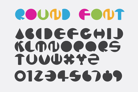 Font set design using circle shape to create round letters.