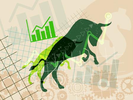 ・財務・株式投資市場のコンセプトです。雄牛市場の有価証券の価格の上昇が期待されます。